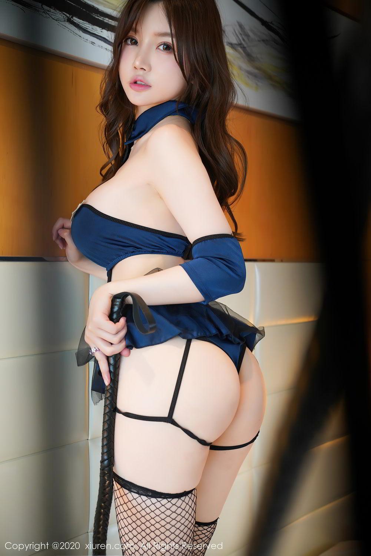 [XiuRen] Vol.2496 Nuo Mei Zi 1P, Baby Face Big Boobs, Black Silk, Mini Da Meng Meng, Policewoman, Xiuren, 肉晴