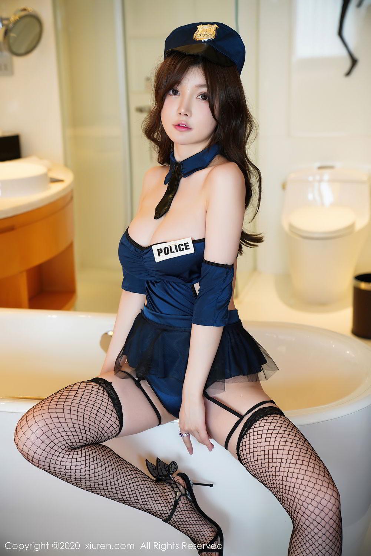 [XiuRen] Vol.2496 Nuo Mei Zi 2P, Baby Face Big Boobs, Black Silk, Mini Da Meng Meng, Policewoman, Xiuren, 肉晴