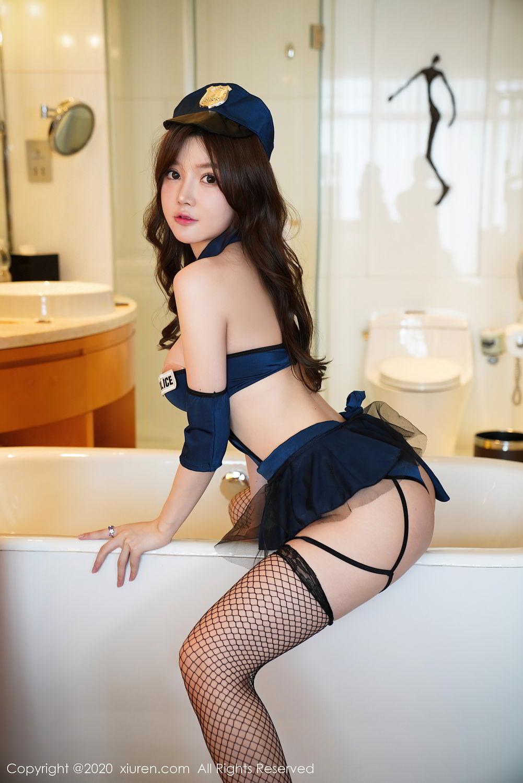 [XiuRen] Vol.2496 Nuo Mei Zi 3P, Baby Face Big Boobs, Black Silk, Mini Da Meng Meng, Policewoman, Xiuren, 肉晴