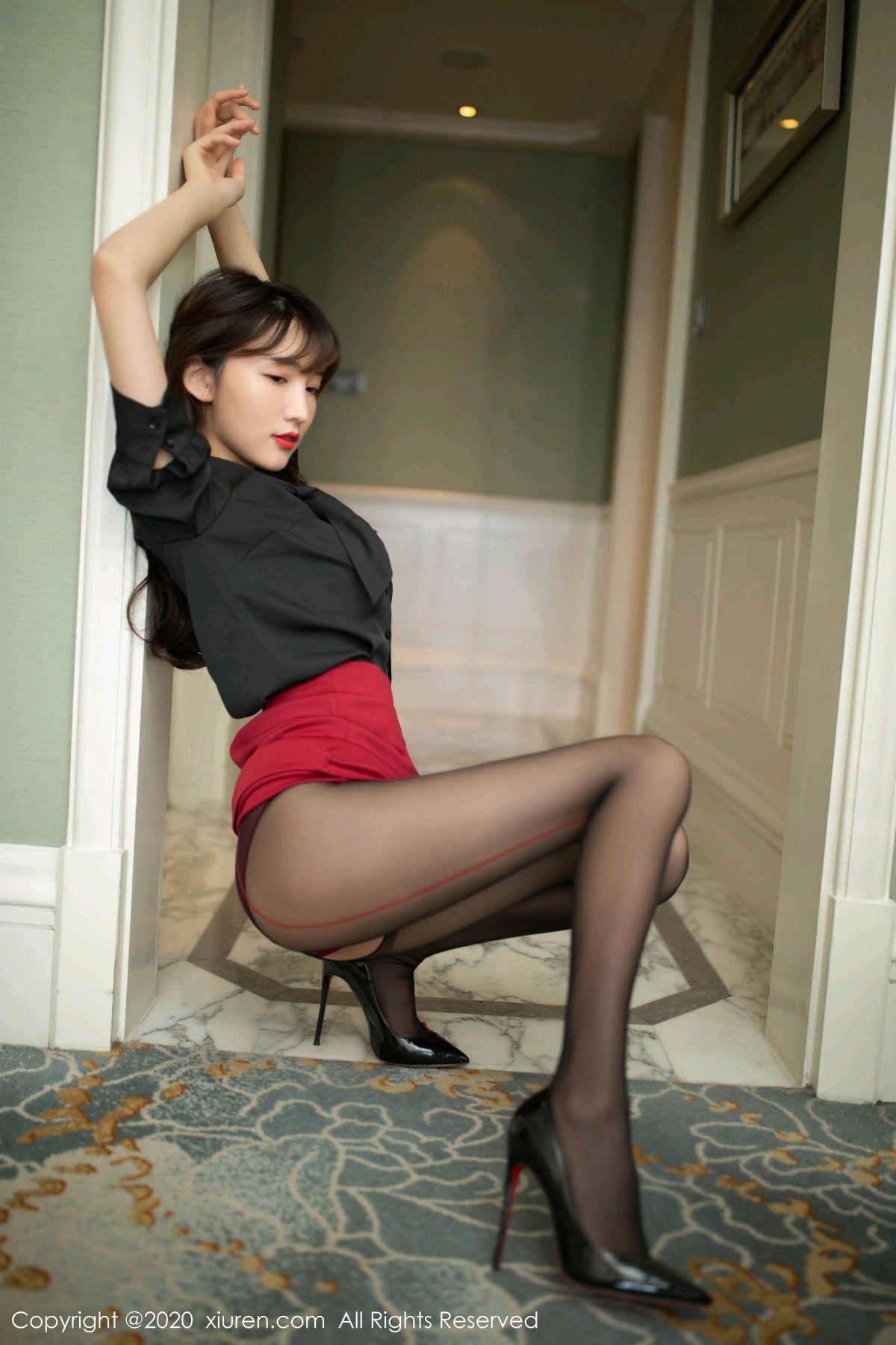 [XiuRen] Vol.2498 Lu Xuan Xuan 17P, Black Silk, Lu Xuan Xuan, Tall, Underwear, Xiuren