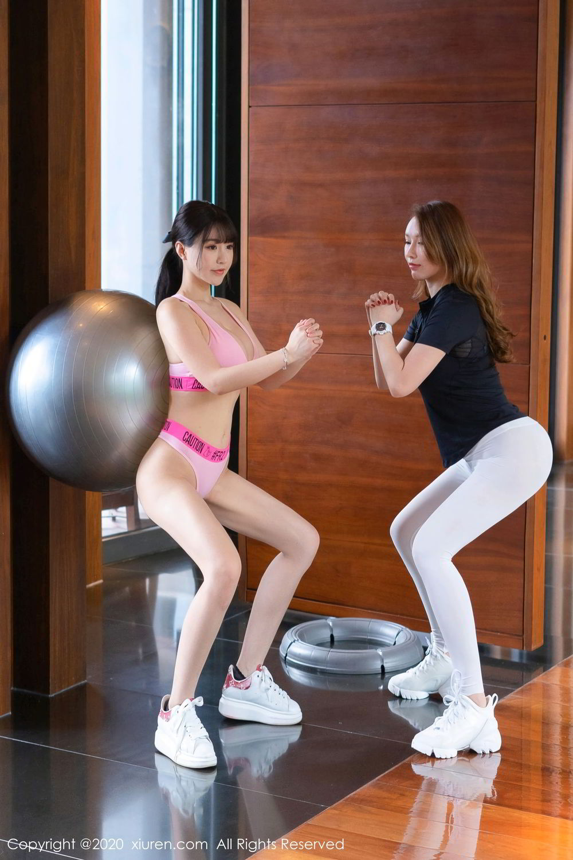 [XiuRen] Vol.2527 Two beauties fitness 9P, Egg Younisi, Sisters, Xiuren, Zhu Ke Er