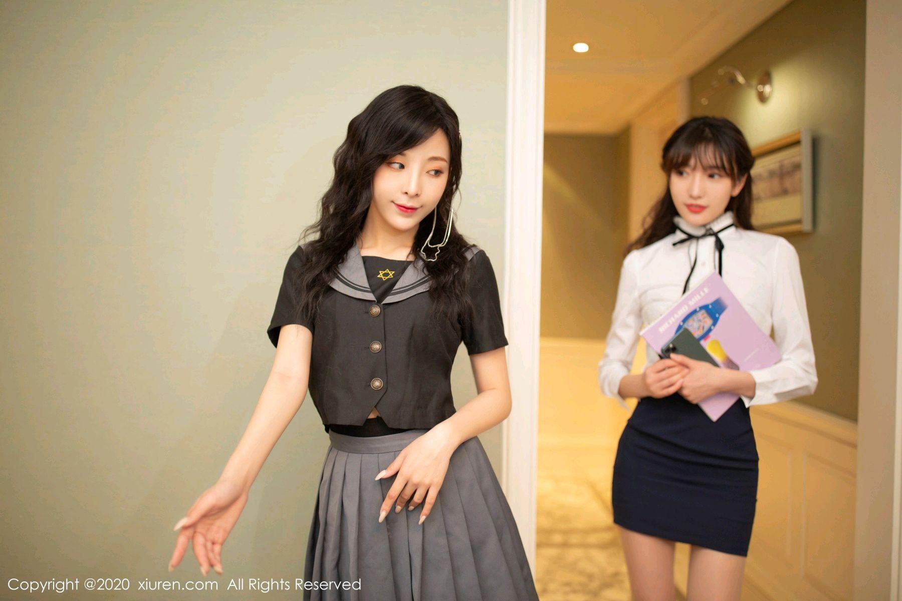 [XiuRen] Vol.2626 Secrets in mobile phones 5P, Chen Xiao Miao, Lu Xuan Xuan, School Uniform, Sisters, Xiuren